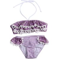 Fashion Girls Polyester Violet Two-Piece Bra and Underpants Bikini Summer Swimsuits Beach Style