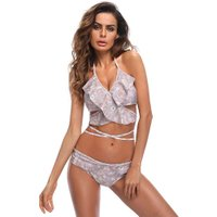 Floral Bathing Suit Swimwear Bikini Set Women Bandage Off Shoulder Swimsuit
